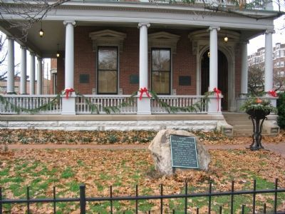Several Plaques on the Front Porch of the Harrison House image. Click for full size.