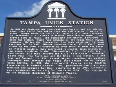 Tampa Union Station Marker image. Click for full size.