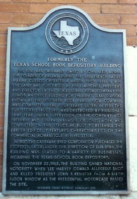 Formerly The Texas School Book Depository Building Marker image. Click for full size.
