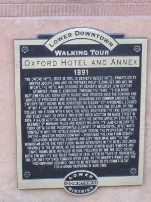 Lower Downtown - Walking Tour - Oxford Hotel and Annex Marker image. Click for full size.