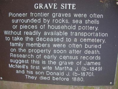 Grave Site marker at the McNeil Homestead image. Click for full size.