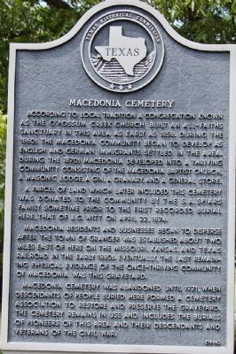 Macedonia Cemetery Marker image. Click for full size.