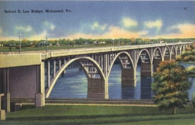 Old Postcard Photograph of the original Robert E. Lee Bridge image. Click for full size.