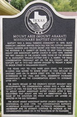 Mount Arie (Mount Ararat) Missionary Baptist Church Marker image. Click for full size.