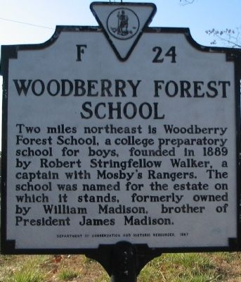 Woodberry Forest School Marker image. Click for full size.