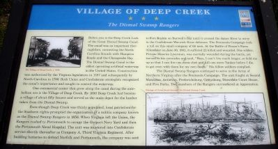Village of Deep Creek Civil War Trails Marker image. Click for full size.