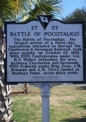 The Battle of Pocotaligo Marker Front Side image. Click for full size.