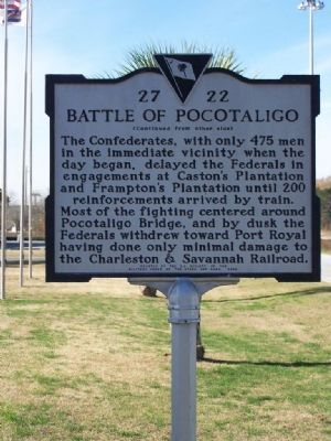 The Battle of Pocotaligo Marker Back Side image. Click for full size.