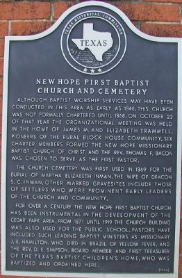 New Hope First Baptist Church and Cemetery Marker image. Click for full size.