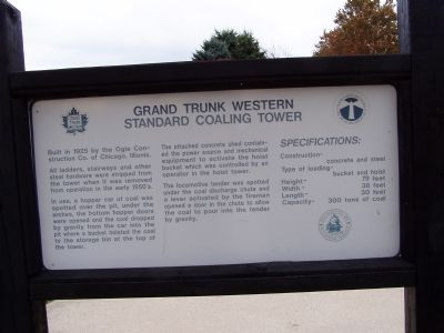 Grand Trunk Western Standard Coaling Tower Marker image. Click for full size.