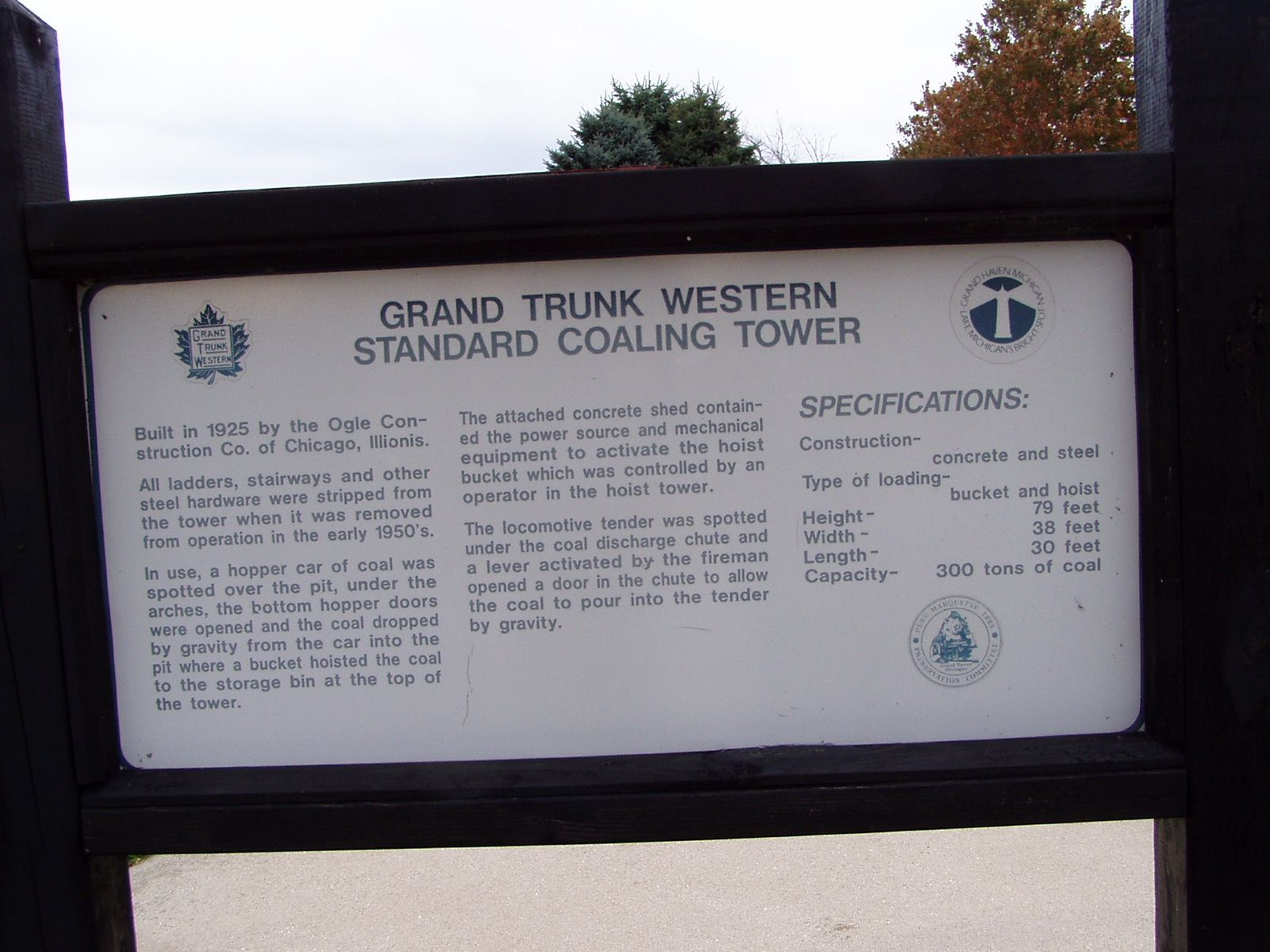 Grand Trunk Western Standard Coaling Tower Marker