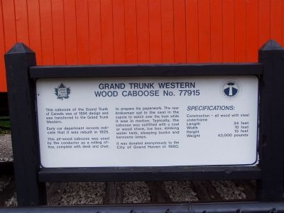 Grand Trunk Western, Wood Caboose No. 77915 Marker image. Click for full size.