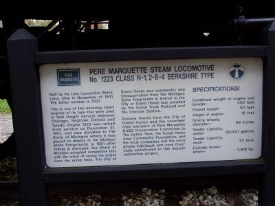 Pere Marquette Steam Locomotive No. 1223 Class N-1, 2-8-4 Berkshire Type Marker image. Click for full size.