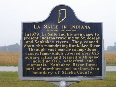 La Salle in Indiana Marker <i>(Reverse) image. Click for full size.