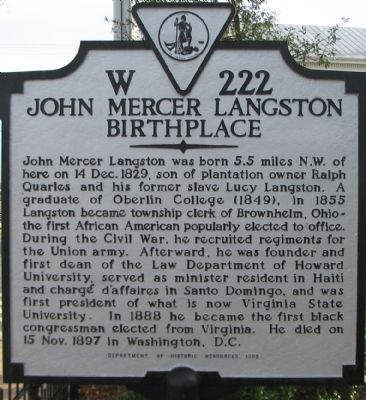 John Mercer Langston Birthplace Marker image. Click for full size.