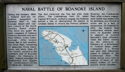 Naval Battle of Roanoke Island Marker image. Click for full size.