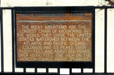 The Continental Divide Marker, at the summit of Pikes Peak image. Click for full size.