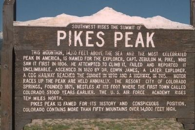 Southwest Rises The Summit of Pikes Peak Marker image. Click for full size.
