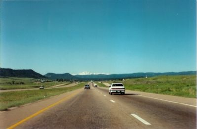 View of Pikes Peak from I-25, just south of Denver image. Click for full size.