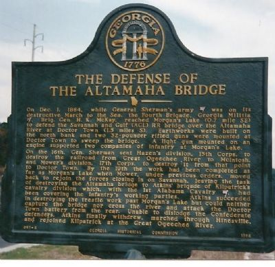 The Defense of the Altamaha Bridge Marker image. Click for full size.