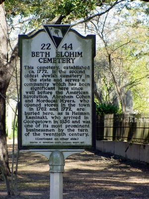 Beth Elohim Cemetery Marker, Side 1 image. Click for full size.