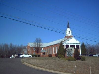 Hulls Memorial Baptist Church and Original Bell Marker image. Click for full size.