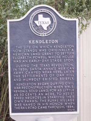 Kendleton Marker image. Click for full size.