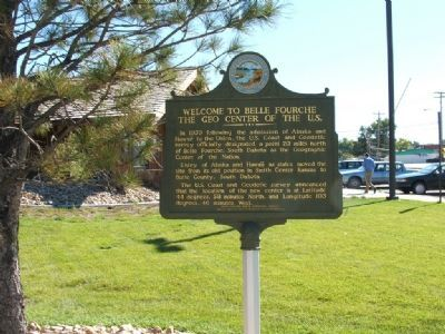 Welcome to Belle Fourche, The Geo Center of the U.S. Marker image. Click for full size.