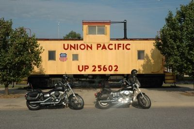 Union Pacific Caboose Next to Marker image. Click for full size.