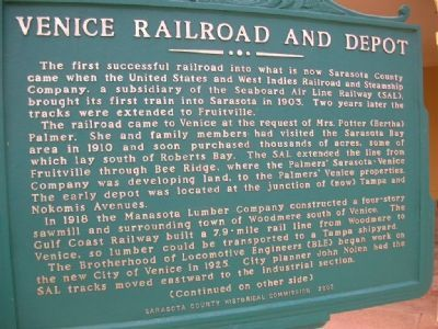 Venice Railroad and Depot Marker <i>(Obverse) image. Click for full size.