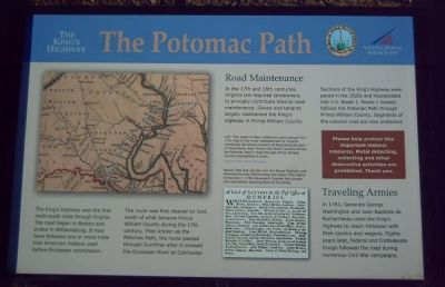 The King's Highway ~ The Potomac Path Marker image. Click for full size.