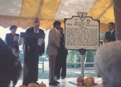 Unveiling Ceremony, Deep Bottom Park, Varina, 1993. image. Click for full size.