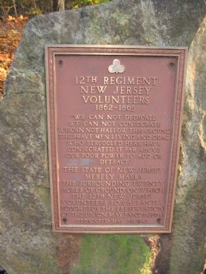 12th Regiment New Jersey Volunteers 1862 - 1865 Marker image. Click for full size.