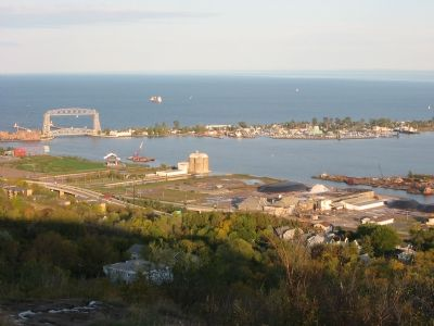 Lake Superior and Superior Bay (Outer Harbor) image. Click for full size.