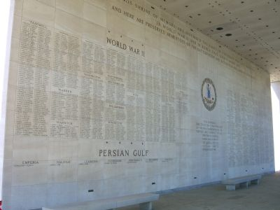 Back left panel of the <i>Shrine of Memory</i> </b>WW II and the Persian Gulf image. Click for full size.