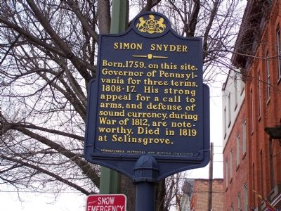 Simon Snyder Marker image. Click for full size.