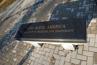 """God Bless America""<br>""In the Spirit of Freedom and Democracy""<br>Bench image. Click for full size."