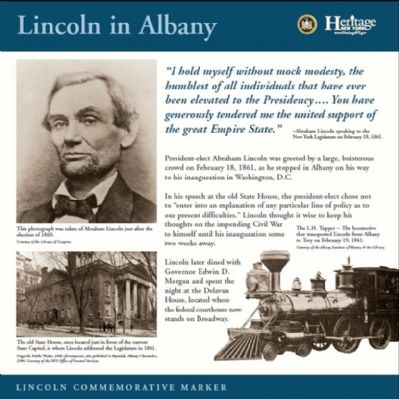 Lincoln in Albany Commemorative Marker image. Click for full size.