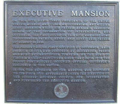 The Executive Mansion of Virginia Marker image. Click for full size.
