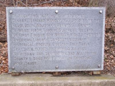 At Rockford near here lived & died General Edward Hand, M.D. Marker image. Click for full size.