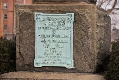 Plaque on Base of the Soldiers' Monument image. Click for full size.