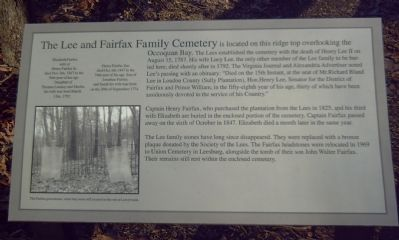 The Lee and Fairfax Family Cemetery Marker image. Click for full size.