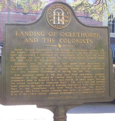 Landing of Oglethorpe and the Colonists Marker image. Click for full size.