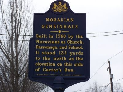 Moravian Gemeinhaus Marker image. Click for full size.