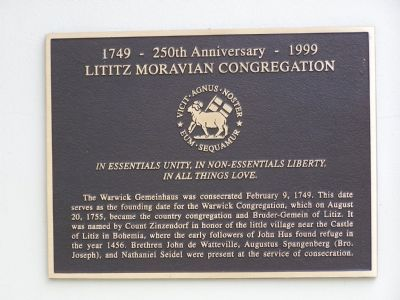 Lititz Moravian Congregation Marker image. Click for full size.