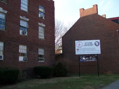 Marker is in front of Stahr Armory image. Click for full size.