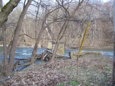 Remains of bridge crossing the Conestoga River at marker. image. Click for full size.