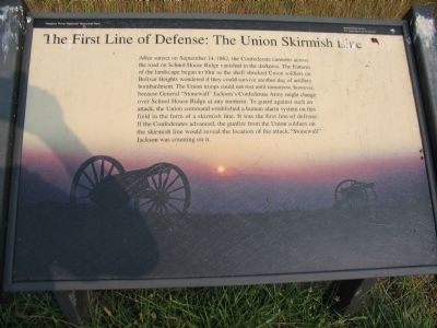 The First Line of Defense: The Union Skirmish Line Marker image. Click for full size.