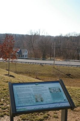 Marker in the foreground, with the old National Road and the milestone in the background image. Click for full size.