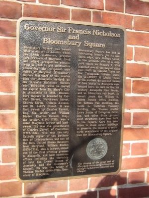 Governor Sir Francis Nicholson and Bloomsbury Square Marker image. Click for full size.